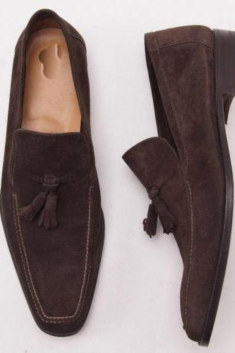 Customized Handmade Brown Color Tassel Loafers With Square Toe Suede Leather Men's Shoes Made To Order