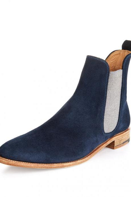 Customized Handmade Navy Blue Color Chelsea Suede Leather Men's Dress Boots Contrast Sole And Light Blue Elasticated Panel And Back Pull Made To Order