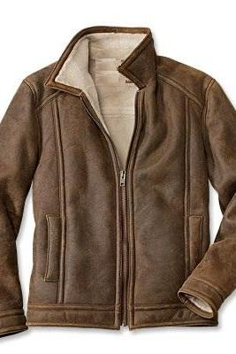 Made To Order Handmade Brown Color Shearling Leather Men's Jacket With Open Hand Pockets, Snap Button Cuffs And Front Zippered Closure Made To Order