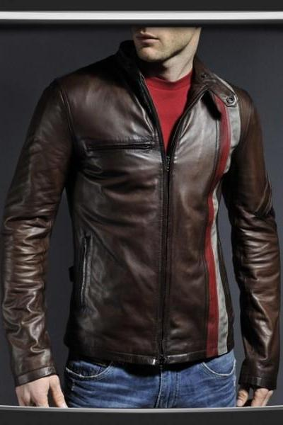 Customized Handmade Chocolate Brown Bikers Men's Leather Jacket Red And White Strips Vertically On Left Side, Slim Design Leather Fashion Jacket Made To Order
