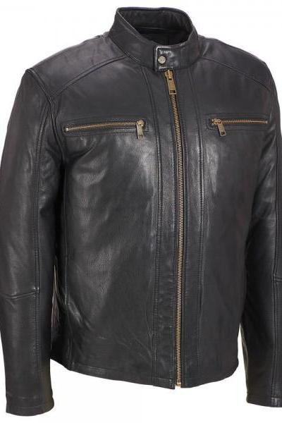 Customized Handmade Black Color Bomber Bikers Men's Leather Jacket Zippered Chest Vents, Front Zippered Closure And Snap Button Collar Made To Order