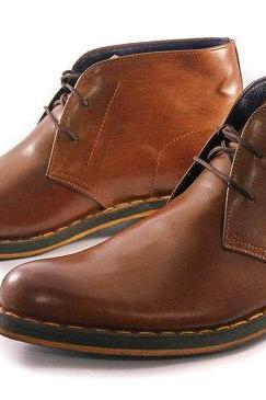 Customized Handmade Brown Color GoodYear Wlted Chukka Leather Men's Dress Shoes Plain Toe And Contrast Sole Made To Order