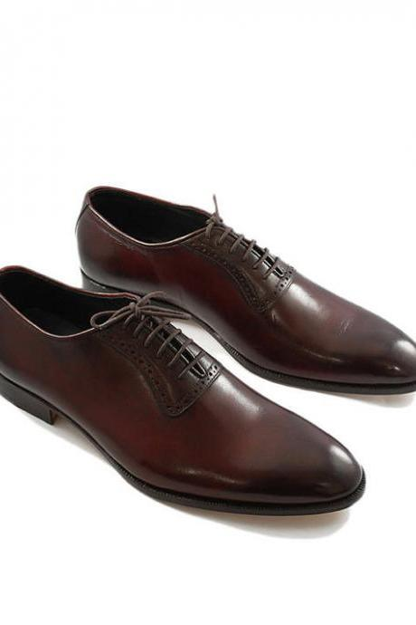 Customized Handmade Brown Color GoodYear Welted Oxford Leather Men's Dress Shoes With Black Plain Toe Made To Order