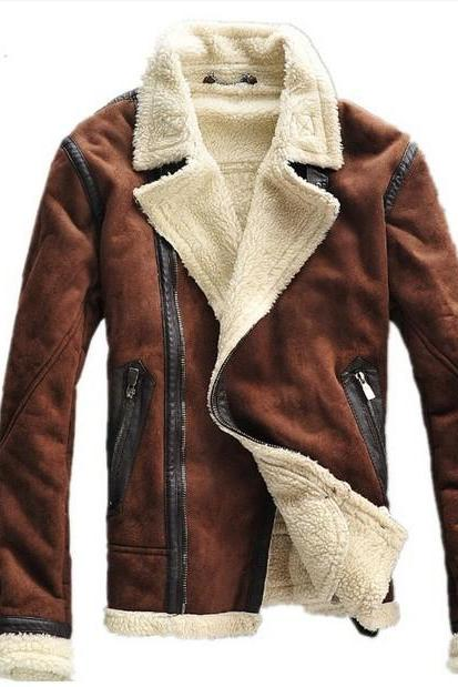 Customized Handmade Brown Color Fur Leather Men's Jacket Zippered Hand Pockets And Lapels Collar Made To Order