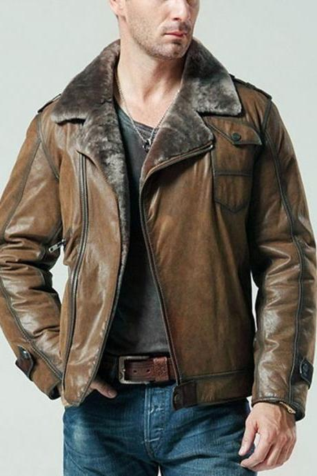 Customized Handmade Brown Color Leather Men's Fur Jacket Lapel Collar And Front Zippered Closure Made To Order