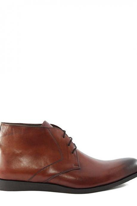 Customized Handmade Brown Color Chukka Leather Men's Dress Shoes Plain Toe With Black Shades Made To Order