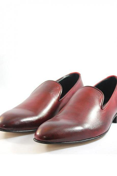 Customized Handmade Burgundy Color One Piece Slip On Leather Men's Dress Shoes With Black Sole Made To Order