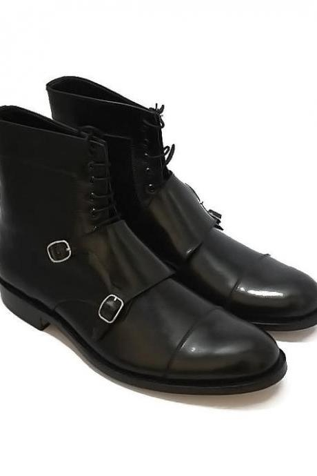 Customized Handmade Black Color Monk Leather Men's Dress Shoes With Double Strap Buckle And Lace Up, Cap Toe And Ankle Boots Made To Order