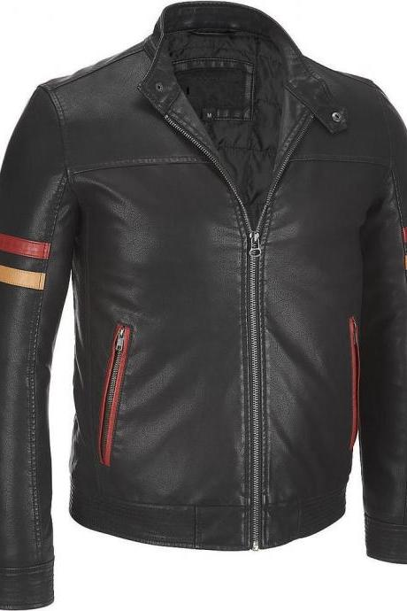 Customized Handmade Black Color Bikers Men's Leather Jacket With Red & Beige Color Strips On Sleeves, Zippered Hand Pockets With Red Color Border, Collarless Design With Snap Button And Snap Button Cuffs Made To Order