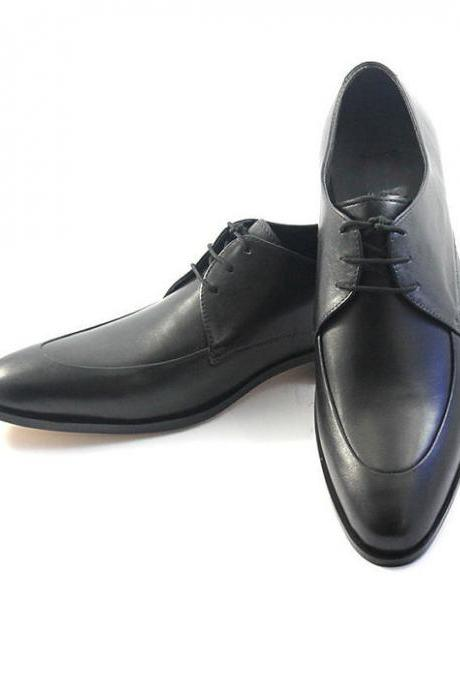 Customized Handmade Black Color Formal Derby Leather Men's Dress Shoes With Lace Up And Pointed Toe Made To Order