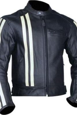Customized Handmade Black Color Bikers Men's Leather Jacket White Color Strips On Sleeves And Front Right Side Vertically, Zippered Pockets And Snap Button Collar Made To Order