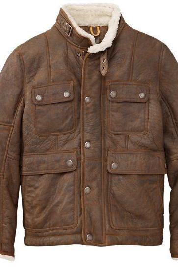Customized Handmade Brown Color Fur Men's Leather Jacket With Belted Tab Collar, Four Front Flap Pockets With Snap Buttons And Front Zippered Closure With Snap Button Closure Wind Flap Made To Order