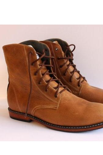 Customized Handmade Tan Color High Ankle Men's Leather Boots Plain Toe And Lace Up Made To Order