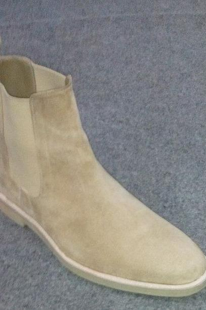 Customized Handmade Beige Color Chelsea Leather Boots For Men With Back Pull And Elasticated Panel Made To Order