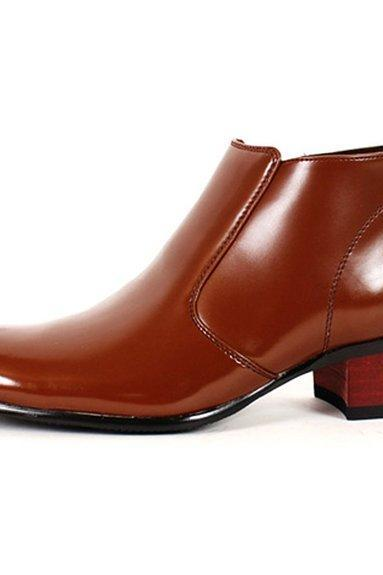 Customized Handmade Brown Polish Chelsea Leather Boots For Men With Pointed Toe, Black Sole And Up Heel Made To Order