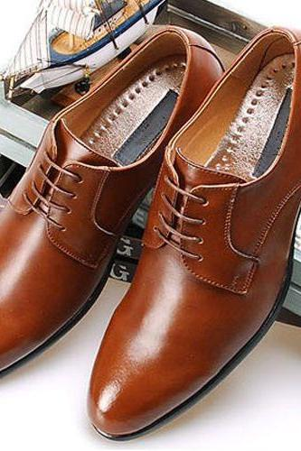 Customized Handmade Tan Color Formal Leather Men's Dress Shoes With Plain Toe And Black Sole Made To Order