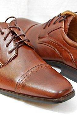Customized Handmade Brown Color Derby Formal Leather Men's Dress Shoes With Square Cap Toe Made To Order