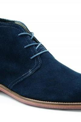 Customized Handmade Navy Blue Color Derby Suede Leather Men's Chukka Dress Boots Contrast Sole Made To Order