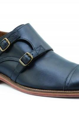 Customized Handmade Navy Blue Color Monk Leather Men's Dress Shoes With Cap Toe, Double Strap Buckle, Back Pull And Contrast Sole Made To Order