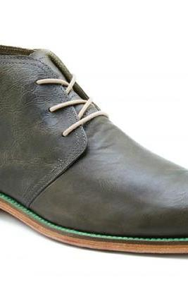 Customized Handmade Gray Color Formal Leather Men's Dress Chukka Boots With Contrast Sole Made To Order