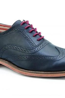 Customized Handmade Navy Blue Color Brogue Leather Men's Oxford Dress Shoes With Contrast Sole Made To Order