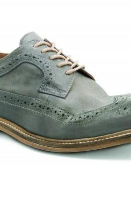 Customized Handmade Green Color Long Brogue Leather Men's Oxford Dress Shoes With Contrast Sole Made To Order