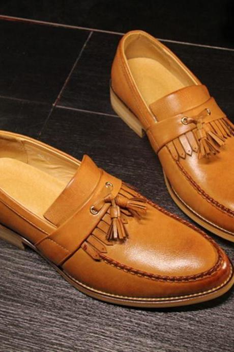 Customized Handmade Tan Color Tassel Loafers Leather Men's Shoes With Fringes And Venetian Design Made To Order