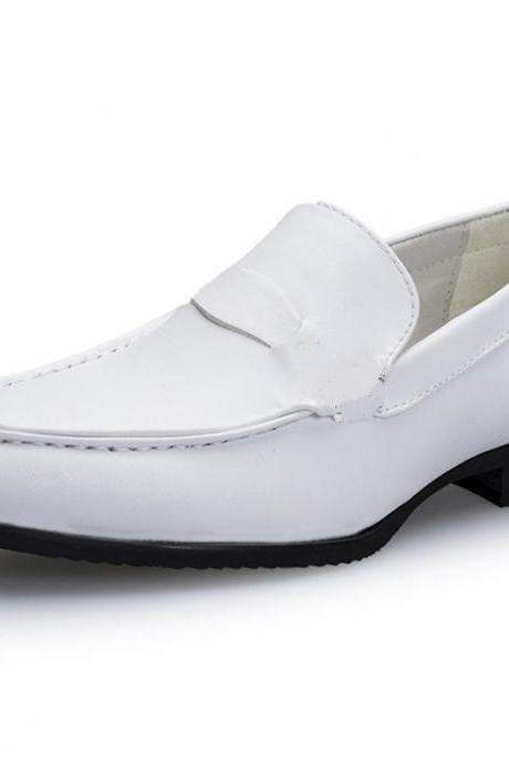 Customized Handmade White Color Slip On Venetian Leather Men's Dress Shoes With Black Sole Made To Order