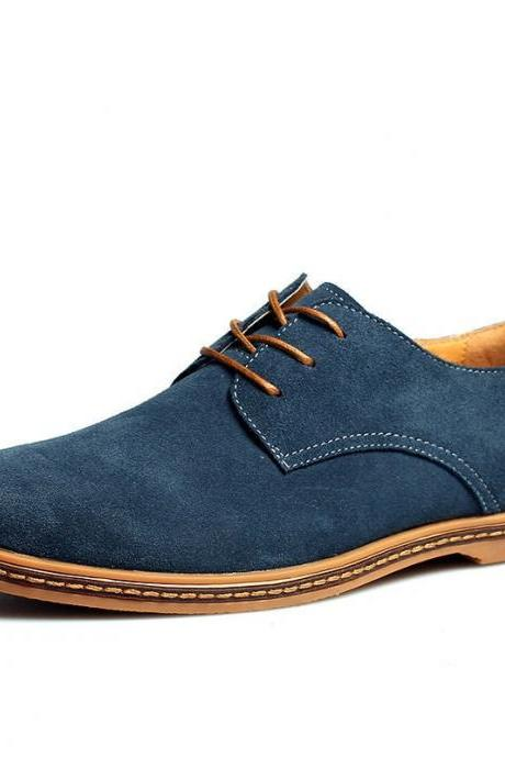 Customized Handmade Navy Blue Color Derby Suede Leather Men's Dress Shoes Contrast Sole Made To Order