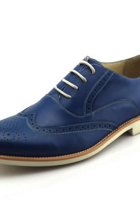 Customized Handmade Blue Color Brogue Oxford Leather Men's Dress Shoes With Contrast Sole Made To Order