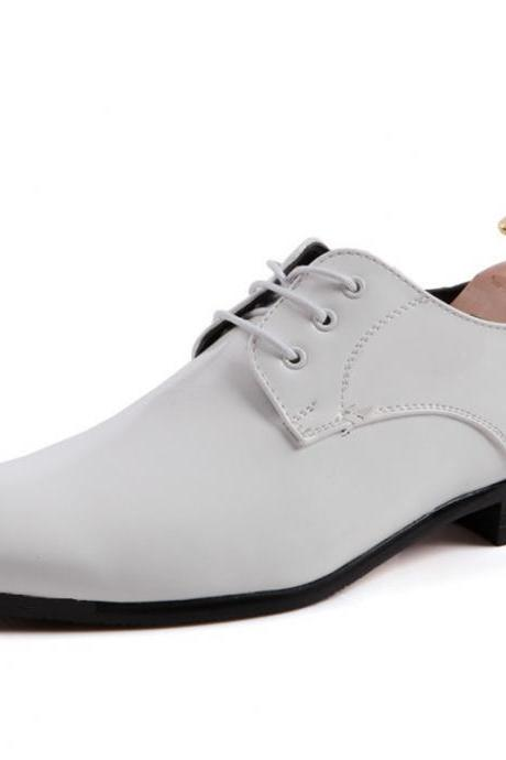 Customized Handmade White Color Derby Leather Men's Dress Shoes With Black Sole And Lace Up Made To Order