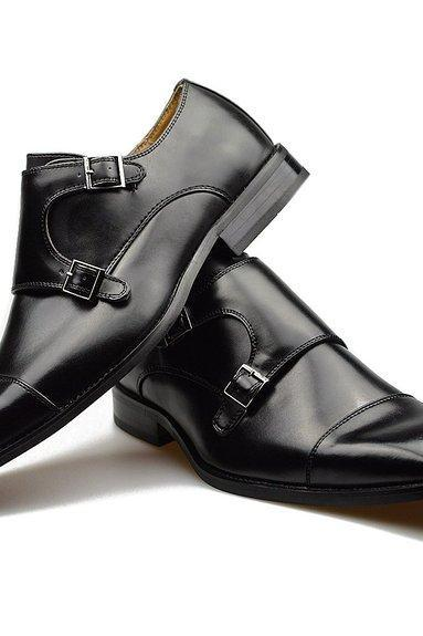 Customized Handmade Black Polish Monk Leather Men's Dress Shoes With Cap Toe And Double Strap Buckle Made To Order