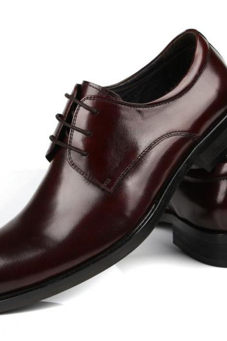 Customized Handmade Burgundy Color Derby Leather Men's Formal Dress Shoes Black Sole And Lace Up Perfect For Business Made To Order