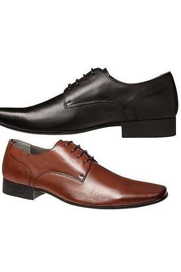 Customized Made To Hand Available In 2 Colors Derby Leather Dress Shoes For Men With Pointed & Plain Toe And Black Sole Made To Order