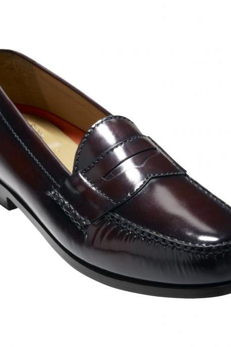 Customized Handmade Burgundy Color Slip On Venetian Penny Loafers Leather Dress Shoes For Men Made To Order