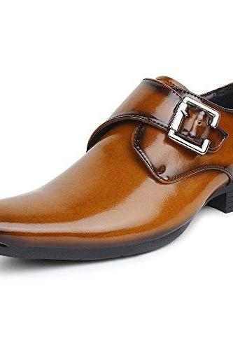 Customized Handmade Tan Color With Plain And Black Pointed Toe Formal Monk Leather Dress Shoes For Men With Black Sole And Single Strap Buckle Made To Order