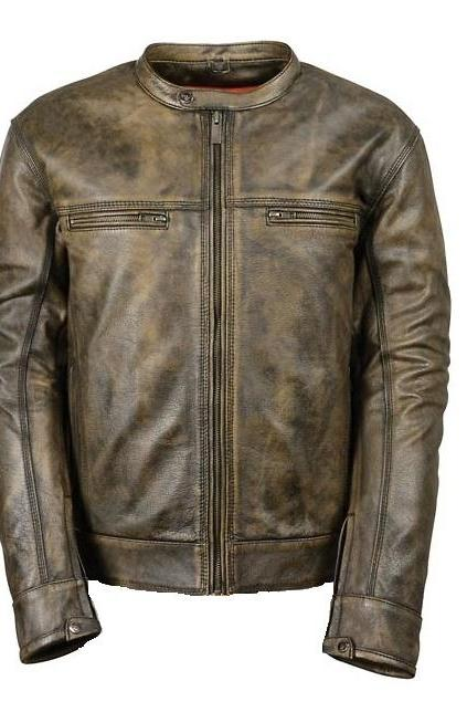 Customized Handmade Distressed Brown Color Bikers Men's Fashion Leather Jacket Zippered Up Closure, Collarless Snap Button Design, Zippered Sleeves With Snap Button, Hand Pockets And Chest Zippered Pockets Made To Order