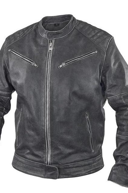 Customized Handmade Black Color Bikers Bomber Fashion Leather Jacket Padding Design Shoulders And Elbows Made To Order Order