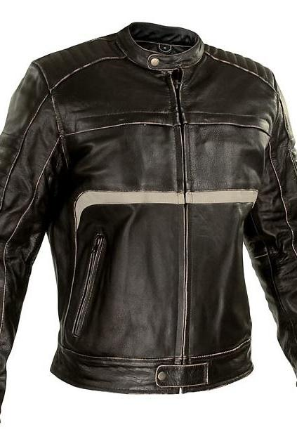 Customized Handmade Black Color Bikers Bomber Fashion Leather Jacket With White Strips On Lower Chest, Padding Design Shoulders And Front Zippered Closure With Wind Guard Made To Order