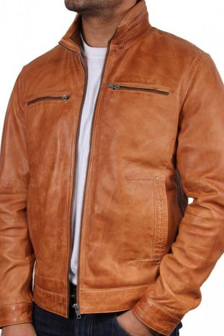 Customized Handmade Tan Color Fashion Leather Jacket For Men Stylish Design Jacket, Open Hand Pockets And Snap Button Cuffs Made To Order