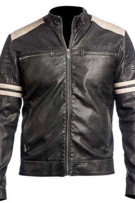 Customized Handmade Black Color Bikers Bomber Leather Jacket For Men White Strips And Seam Design On Sleeves, Padding Design Shoulders In Multi Color, Front Zippered Closure And Zippered Pockets Made To Order