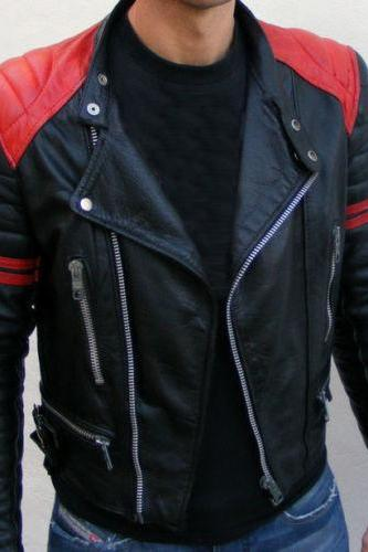 Customized Handmade Black Color Bikers Brando Leather Jacket For Men Red Strips On Sleeves, Padding Design Shoulders, Multi Pockets And Lapel Collar With Fastener Stud Made To Order