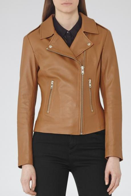 Customized Handmade Tan Color Bikers Brando Slim Leather Jacket For Women Lapel Collar With Fastener Stud, Zippered Pockets Made To Order