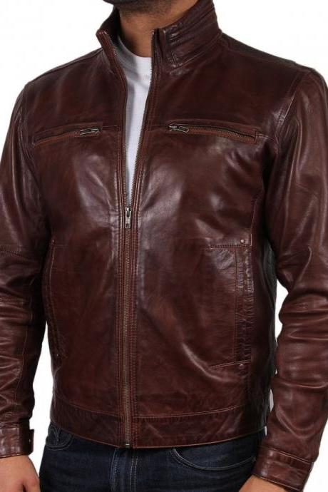 Customized Handmade Burgundy Color Bikers Fashion Leather Jacket For Men Ban Collar, Chest Vents,Button Cuffs, Hand Pockets Made To Order