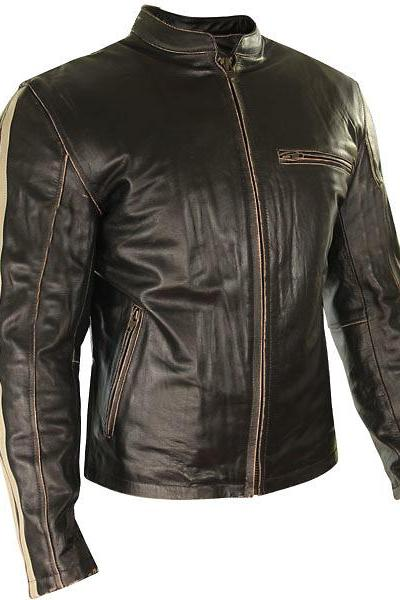 Customized Handmade Black Color Bikers Bomber Leather Jacket For Men With White Color Strips Design On Sleeves Made To Order