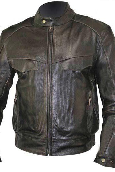 Customized Handmade Black Color Bikers Bomber Leather Jacket For Men Snap Button Tab Collar And Cuffs, Flap Chest Pockets And Zippered Hand Pockets, Seam Worked On Sleeves, Chest And Shoulders Made To Order