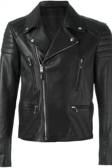 Customized Handmade Black Color Bikers Brando Leather Jacket For Men Lapel Collar With Fastening Stud, Zippered Pockets And Cuffs, Padding Design Shoulders Made To Order