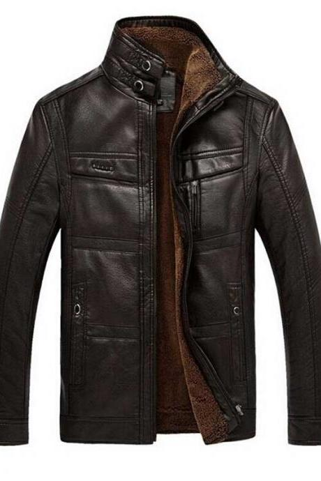 Customized Handmade Chocolate Brown Color Fur Leather Jacket For Men Front Zippered Closure, Snap Button Cuffs And Hand Pockets Made To Order