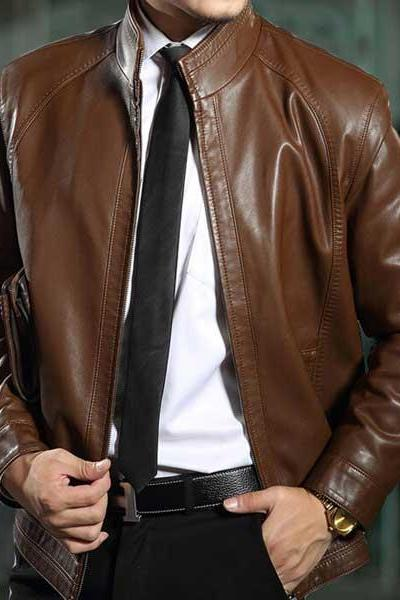 Customized Handmade Brown Color Bikers Slim Leather Jacket For Men Snap Button Cuffs, Front Zippered Closure, Hand Pockets Made To Order