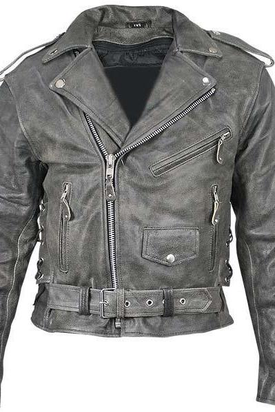 Customized Handmade Gray Color Bikers Brando Leather Jacket For Men Adjustable Belted Waist, Multi Pockets, Lapel Collar With Fastening Stud And Shoulder Epaulets Made To Order